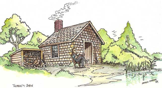 Drawing-Thoreau-Cabin-at-Waldon
